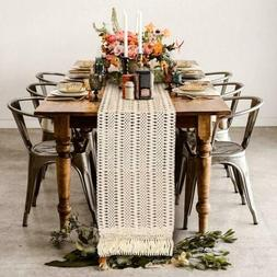 Cotton Macrame Table Runner with Tassel Boho Moroccan Weddin