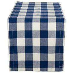Cotton Table Runner Navy and Cream Buffalo Check Perfect for