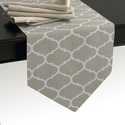 Cotton Linen Burlap Table Runner, Moroccan Quatrefoil Geomet