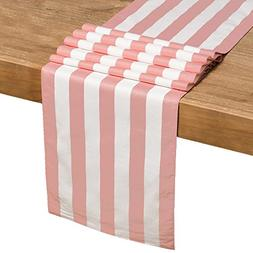 Ling's moment 12 x 72 Inches Light Pink and White Striped Ta