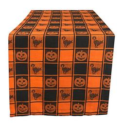 "DII 14x72"" Cotton Table Runner, Black & Orange Check Plaid w"