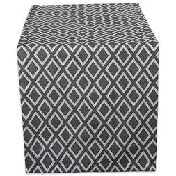 DII 14x72 Cotton Table Runner, Black and White Diamond - Per