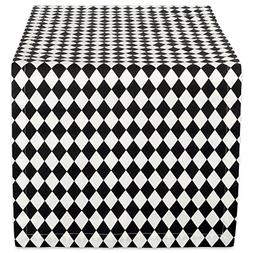 DII 14x108 Cotton Table Runner, Black & Cream Harlequin - Pe
