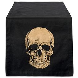DII Cotton Table Runner Gold Skull Print, 14 x 72, Black