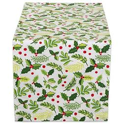 "DII 14x72"" Cotton Table Runner, Boughs of Holly - Perfect fo"