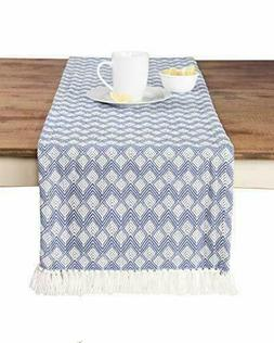 Sticky Toffee Cotton Woven Table Runner with Fringe Scallope