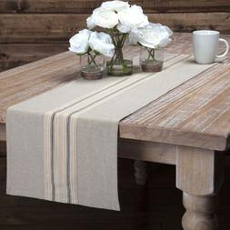 Country Farmhouse Grain Sack Stripe Cotton Table Runner, Cho