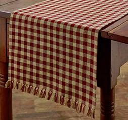 """Park Designs Country Red & Tan Check 13""""x54"""" Table Runner -"""