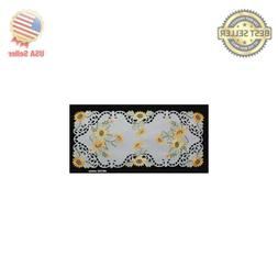 Creative Linens Sunflower Table Runner 15x34 Embroidered Cut