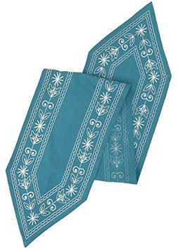 Cotton Craft - Cotton Crewel Embroidery Table Runner - Teal