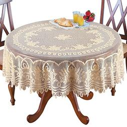 """Crochet Lace Floral Tablecloth, Cream, 70"""" Round"""