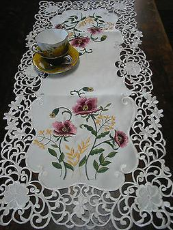 "Cut Work  Embroidered Table Runner Lace Floral Poppies 33""/8"
