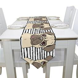 Aideess Cute Pugs Dog Polyester Table Runner Placemat 13 x 7