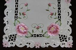 cutwork embroidered lace rose placemat table runner