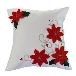 Violet Linen Decorative Christmas Poinsettias with Embroider