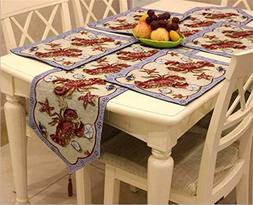 Decorative Cotton Linen Table Runner and Placemats, Lobster