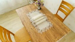 Decorative Wedding Burlap Table Runner With Gold Lace Embroi