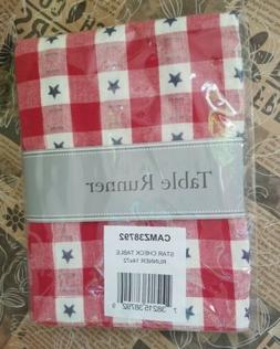 Design Imports DII Star Check Table Runner 14 X 72 Brand New