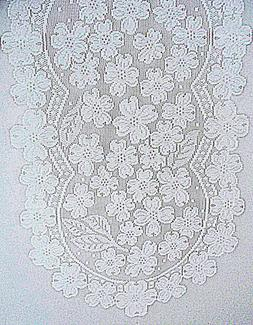 Dogwood 14x33 White Lace Table Runner Heritage Lace NWT