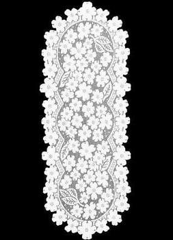 Heritage Lace Dogwood Runner, 14 by 53-Inch, White