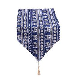 Yoovi Double Sided Blue Striped Table Runner Bohemian with T