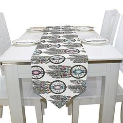 Aideess Dream Catcher Wolf Feather Polyester Table Runner Pl