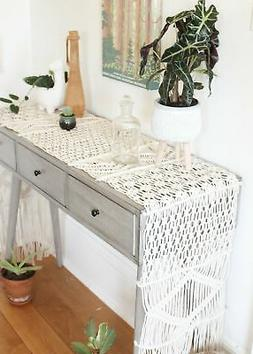 "Dreamer 90"" Antique White Long Macrame Table Runner - Farmho"