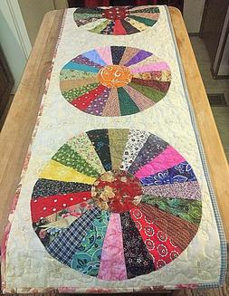 dresden plate quilted table runner multi color