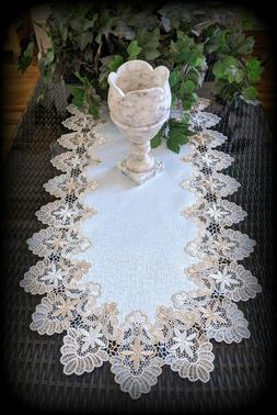 "Dresser Scarf Lace Table Runner 35""x16""  Doily Neutral Beige"