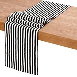 ling's moment Small Black and White Striped Table Runner, 12