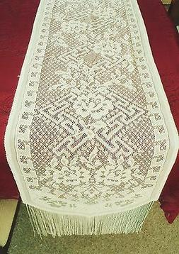 Dynasty Table Runner 16x80 Ivory Pearl Color Lace Runner Her