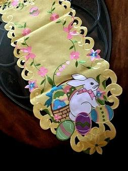 Easter Decor Table Runner Easter Bunny Egg Embroidered Heirl