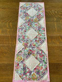 Easter Floral Quilted Table Runner Handmade Flowers Eggs Pin