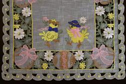 Easter Organza Embroidered Lace Baby Chicken Egg Placemat Ta