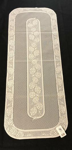 "Ecru Lace Pine Cone Table Runner 16"" X 44"""