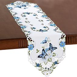 Collections Etc Elegant Butterfly and Greenery Table Linens,