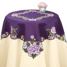 Collections Etc Elegant Embroidered Rose Table Linens, Purpl