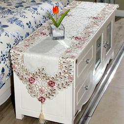 Elegant Embroidery Floral Lace Dining Room Table Runner Part