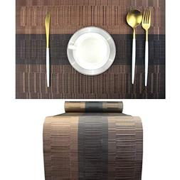 Elegant Placemats with Matching Table Runner,Washable Plasti