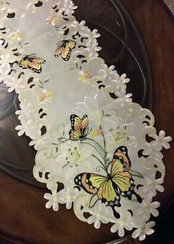 Elegant Yellow Lily & Butterfly Table Runner Floral Lacy Dre