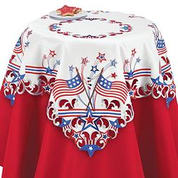 Collections Etc Embroidered Americana Flag Table Linens, Squ