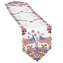 Collections Etc Embroidered Americana Flag Table Linens, Run
