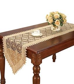 Simhomsen Embroidered beige Lace Table Runner and Dresser Sc