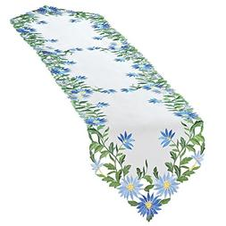 Collections Etc Embroidered Blue Daisies Table Linens, White