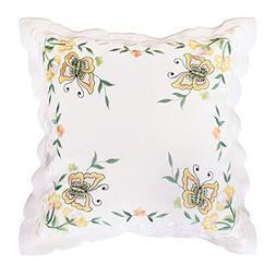 Simhomsen Set of 1 Embroidered Butterfly Throw Pillow Cover