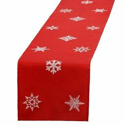 embroidered christmas holiday snowflake table