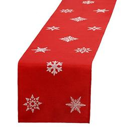 GRELUCGO Embroidered Christmas Holiday Snowflake Table Runne