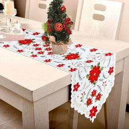 Embroidered Christmas Table Runner Poinsettia Holly Tableclo