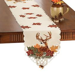 Collections Etc Embroidered Deer and Fall Harvest Leaves Tab