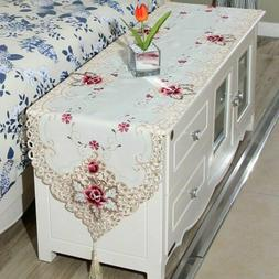 Embroidered Dining Table Runner Cloth Wedding Party Home Tab